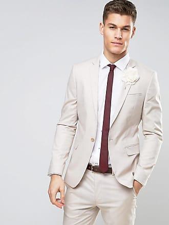 Asos Chaqueta de traje ajustada de algodón elástico en color masilla de ... e79762082a4
