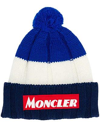 Moncler colour block logo hat - Azul