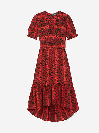 c30bb9210d3 The Kooples Robe mi-longue fluide imprimée rouge à volants
