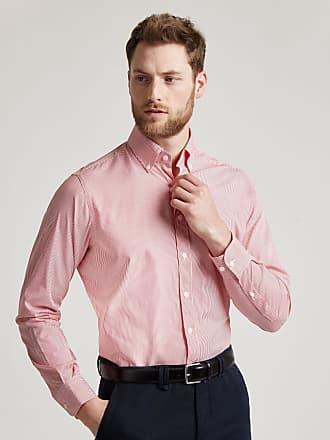 Hackett Mens Fine Bengal Stripe Cotton Shirt | Medium | Red/White