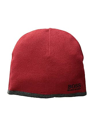 4e0c73417c0f3d HUGO BOSS Logo Embroidered Ciny Knitted Beanie (Dark Red) Scarves