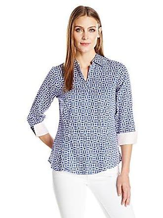 Foxcroft Womens Petite Size 3/4 Sleeve Taylor Pool Tile Shirt, Blue Lagoon 2P