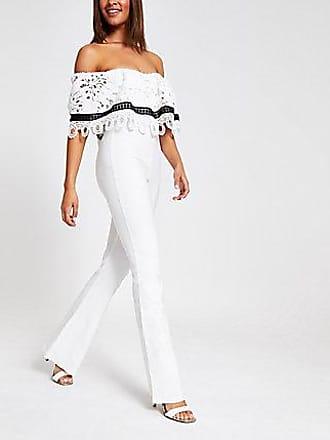 River Island Womens Forever Unique white lace bardot jumpsuit