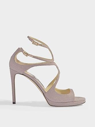 a2029e81c90 Jimmy Choo London Lance 100 Cross Front Sandals in Ballet Pink Fine Glitter  Fabric