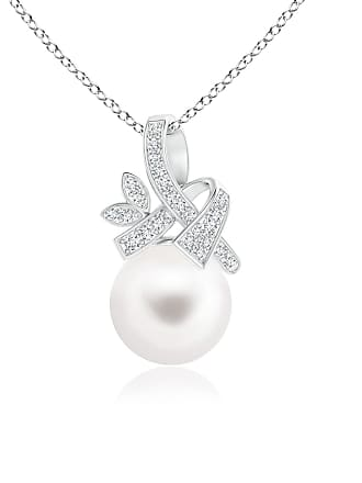 Angara Valentine Day Sale - Freshwater Cultured Pearl Pendant with Diamond Ribbon