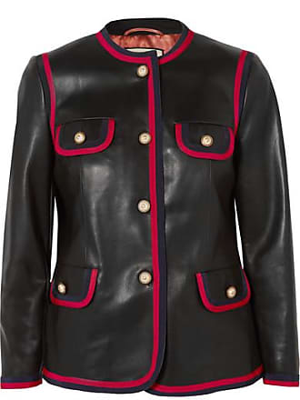 29bded5f9077 Gucci Grosgrain-trimmed Leather Jacket - Black