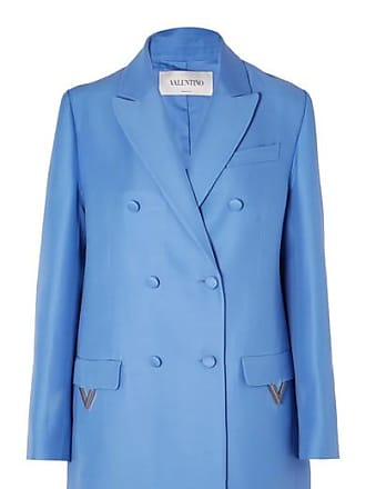 Valentino Oversized Double-breasted Wool And Silk-blend Blazer - Blue
