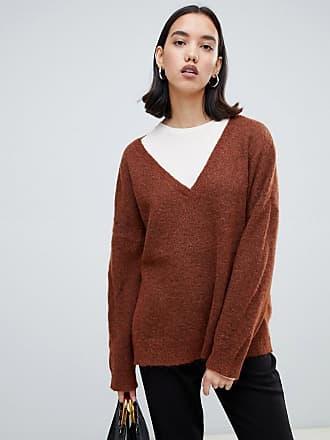 Selected Femme V Neck Sweater - Brown