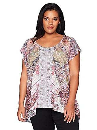Oneworld Womens Plus Size Short Sleeve Printed Top with Lace Trim, Daydream Journey/White, 2X