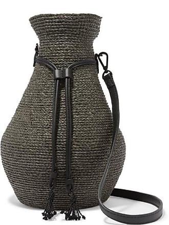 Albus Lumen + Helen Kaminski Figura Leather-trimmed Raffia Shoulder Bag - Army green