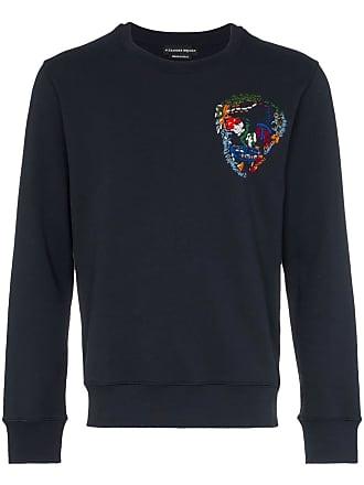 Alexander McQueen embroidered skull cotton sweatshirt - Blue