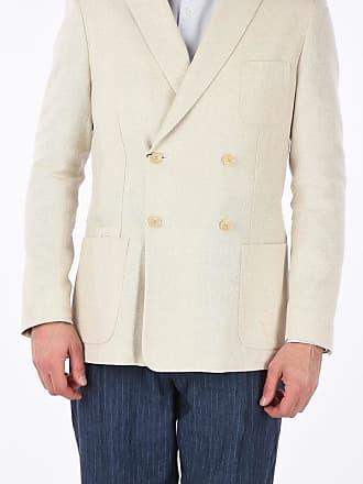 Corneliani CC COLLECTION giacca REWARD doppio petto in lino e cotone taglia 52