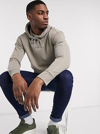 Hollister Stückgefärbtes Kapuzensweatshirt mit Logoschriftzug in Hellbraun