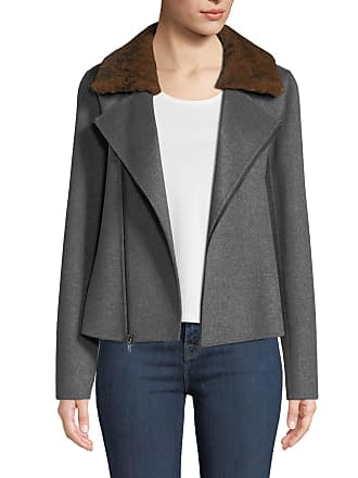 Neiman Marcus Luxury Cashmere Moto Jacket w/ Rabbit Fur Collar