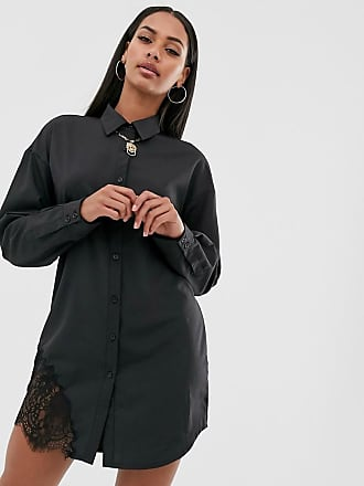 Missguided shirt dress with lace trim in black