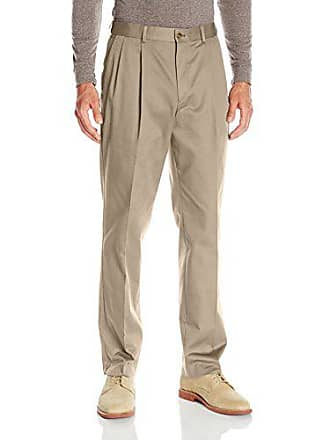 0685a8cb Louis Raphael Mens Khakis Straight Fit Comfort Waist Pleated Pant, Bone  Ivory, 30W x
