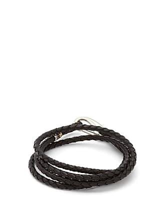 Paul Smith Braided Leather Wrap Bracelet - Mens - Black