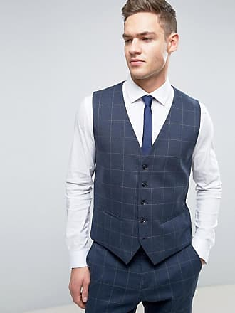 Selected Slim Suit vest in Window Pane Check - Navy