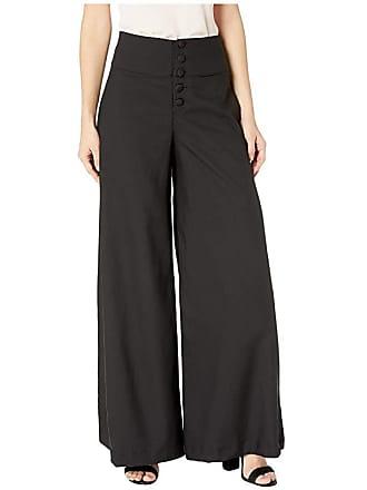 Unique Vintage 1940s Style High-Waist Rosie Wide Leg Pants (Black) Womens Casual Pants
