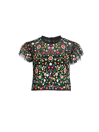 Needle & Thread Lazy Daisy Floral Embroidered Mesh Cropped Top Black