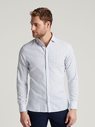 Hackett Mens Cotton-Linen Bengal Stripe Shirt   Large   Wshd Red/White