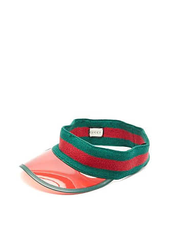 b1ba1e8940cf96 Gucci Web Stripe Pvc Visor - Mens - Green Multi
