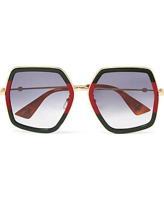 8f73e4c673e Gucci Square-frame Striped Acetate And Gold-tone Sunglasses - Green
