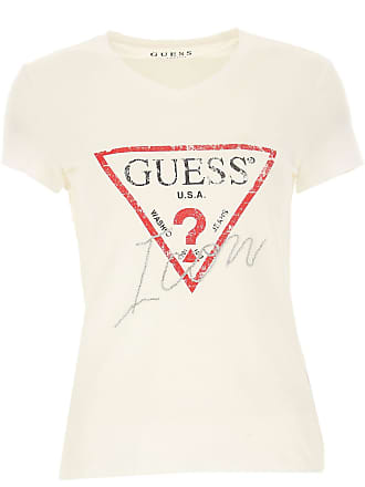 0098e6c3046fbd Guess T-Shirt Donna, Bianco, Rosso, 2017, 38 40 44