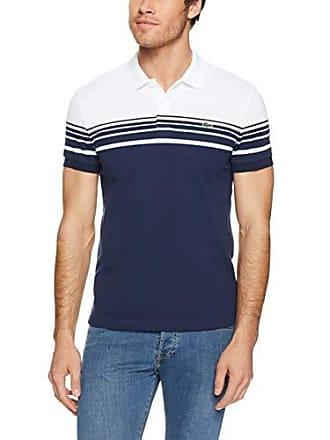 e992ccb419e2 Lacoste Mens Slim Fit Colour Block Stripe Polo, White/Navy Blue, 04F