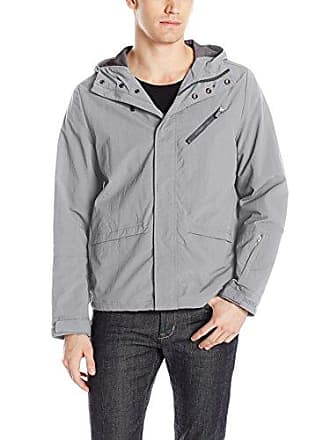 Kenneth Cole Reaction Mens Lightweight Crinkle Nylon Jacket, Grey, Large