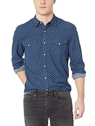Lucky Brand Mens Santa FE Western Indigo Shirt, Blue Print L