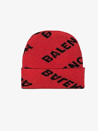 Balenciaga red and black logo knit wool-blend beanie