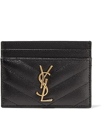 Saint Laurent Quilted Textured-leather Cardholder - Black