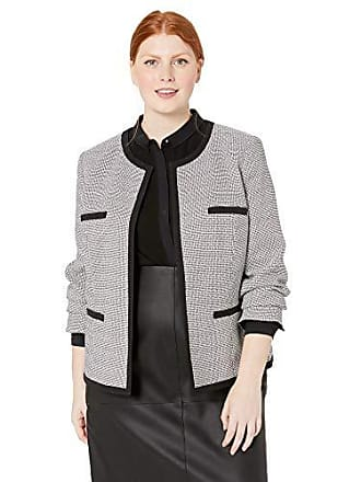 Kasper Womens Jewel Neck Stretch Tiny Check Tweed Jacket with Piping, Black/White, 16