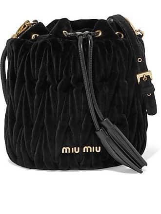 809f28236f6 Miu Miu Leather-trimmed Matelassé Velvet Bucket Bag - Black