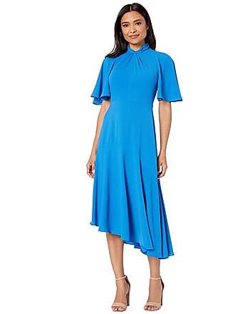8cbd5223 Maggy London Catalina Crepe Twist Neck Asymmetrical Hem Midi Dress (Sea  Blue) Womens Dress
