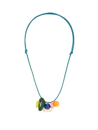Aurélie Bidermann Roudoudou Lacquered Shell Cord Necklace - Womens - Blue