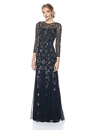 Adrianna Papell Womens Long Sleeve Bead Dress, Midnight, 2