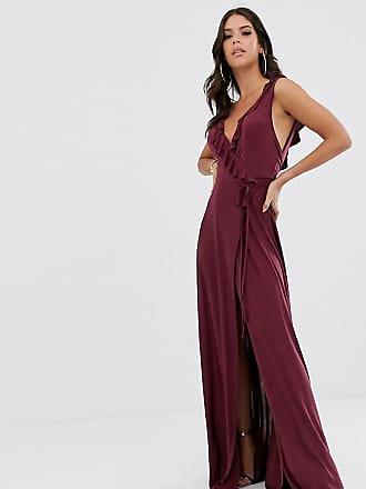 Asos Tall ASOS DESIGN Tall ruffle wrap maxi dress with tie detail-Purple