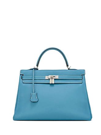 Hermès Vintage Kelly 35 Chevre Satchel Bag Blue