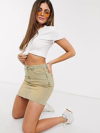 Missguided sandblasted denim skirt in sand-Beige