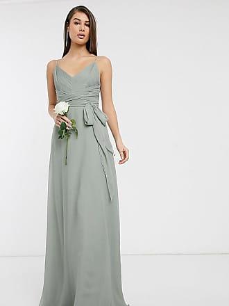 Asos Tall ASOS DESIGN Tall - Maxikleid für die Brautjungfer mit Spaghettiträgern, Raffung am Oberteil und Bindegürtel-Grün