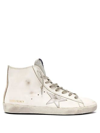 Golden Goose Francy High Top Leather Trainers - Womens - White Silver