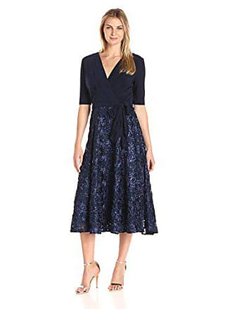 160e695b0178 Alex Evenings Womens Tea Length Dress with Rosette Skirt and Tie Belt,  Navy, 16