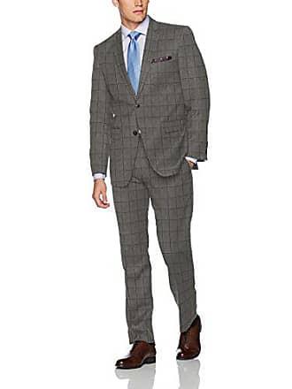 Perry Ellis Mens Slim Fit Style Suit, Dark Grey Windowpane, 44 Long