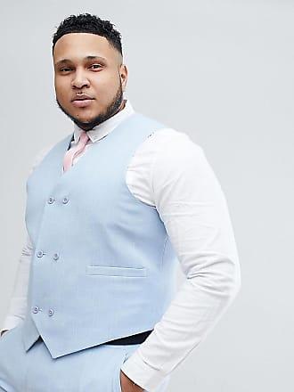 Asos Chaleco de traje ajustado en azul pastel sombreado con forro estampado  de ASOS PLUS Wedding a24724cb7c0