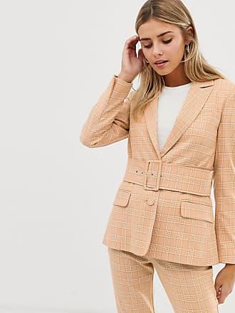 4c27d396bd Asos Americana de traje con cinturón del mismo tejido y diseño a cuadros en  color mostaza
