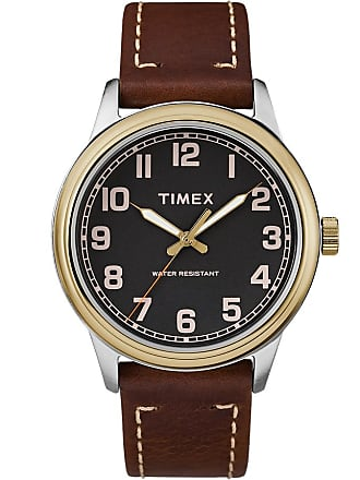 Timex Watch Mens New England 40MM Leather Strap brown/black Item Tw2R229009J