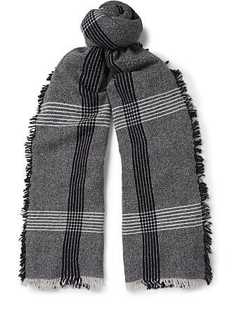 955ebebeb07 Begg   Co Beaufort Fringed Checked Wool And Cashmere-blend Scarf - Black