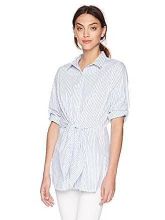 Calvin Klein Womens Stripe ROLL Sleeve Tunic, Chambray Combo, XS